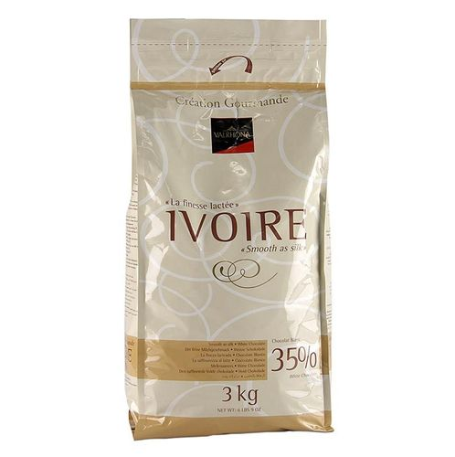 Ivoire, weiße Couverture, Callets, 35% Kakaobutter, 21% Milch, Valrhona, 3 kg